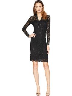 Короткое платье из эластичного кружева с длинными рукавами и зубчатым краем MARINA