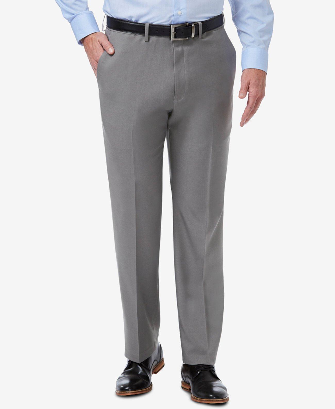 Мужские классические эластичные сплошные плоские передние классические брюки премиум класса Comfort HAGGAR