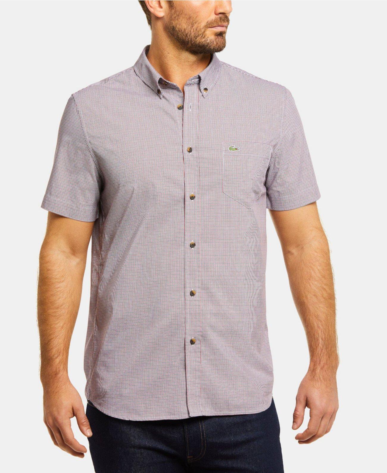 Мужская рубашка в клетку с короткими рукавами в клетку и клеткой в клетку Lacoste