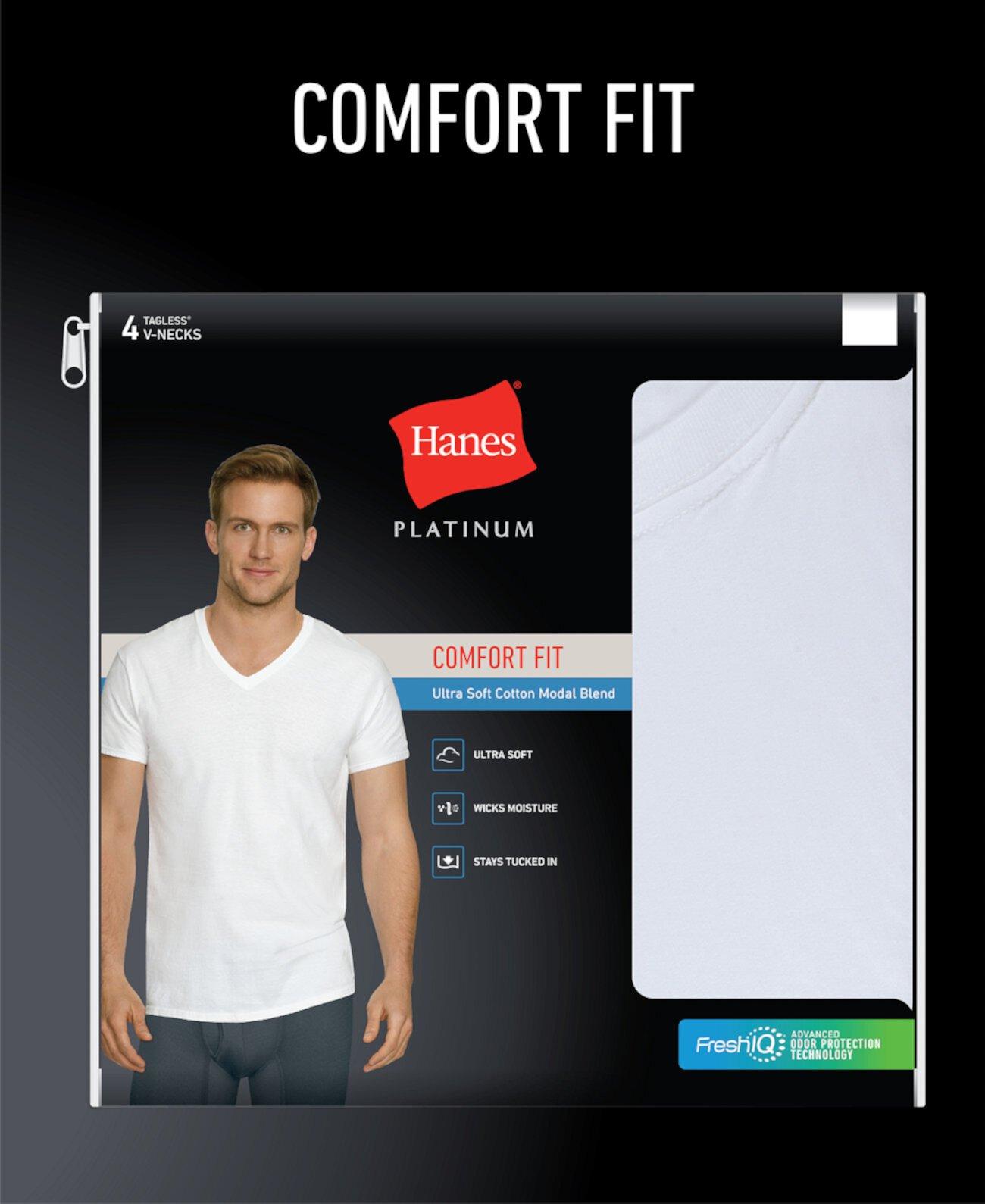 Мужские 4-шт. Футболки с V-образным вырезом Platinum Comfort Fit Hanes