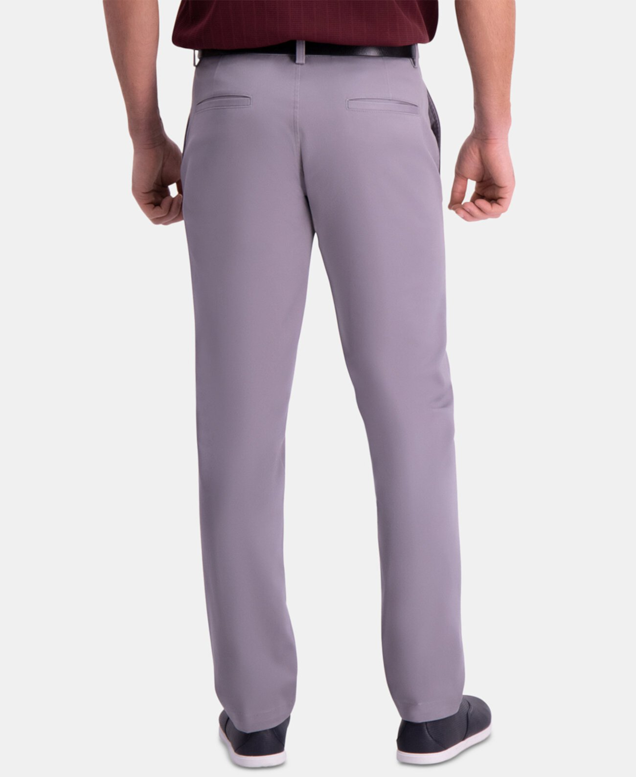 Мужские брюки премиум-класса цвета хаки Slim-Fit 2-полосные эластичные устойчивые к морщинам повседневные брюки HAGGAR