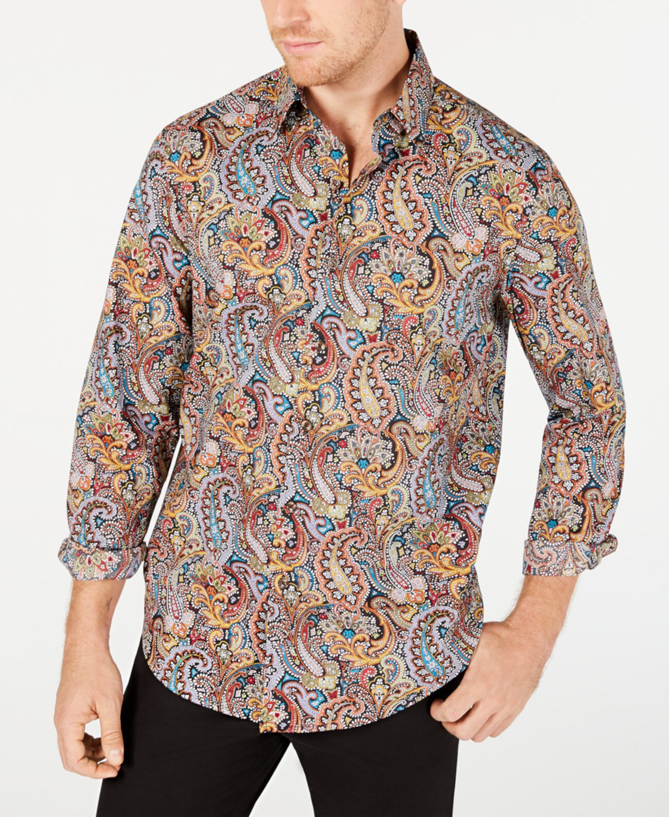 Мужская эластичная рубашка с принтом пейсли Cambridge, созданная для Macy's Tasso Elba