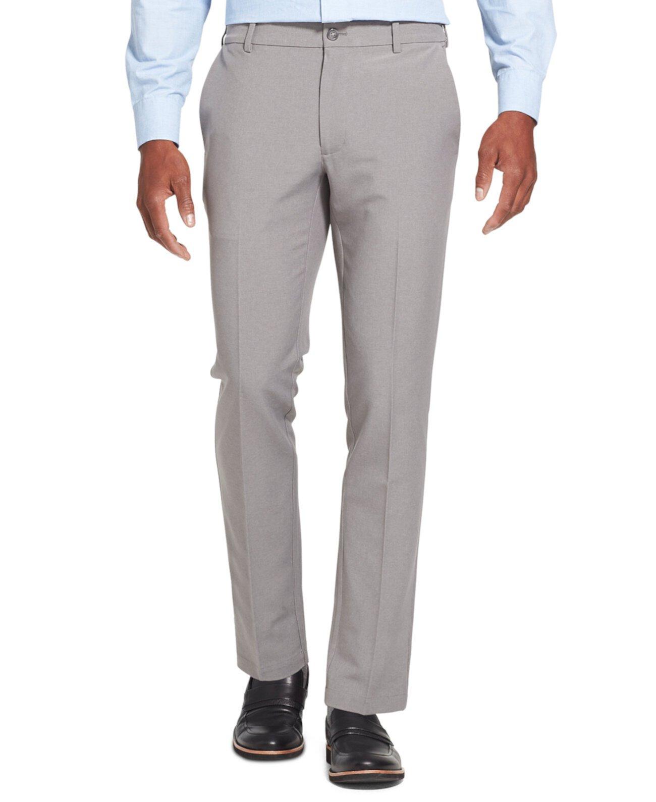 Мужские Flex 3 Slim-Fit 4-полосные рабочие эластичные не железные плоские передние брюки Van Heusen