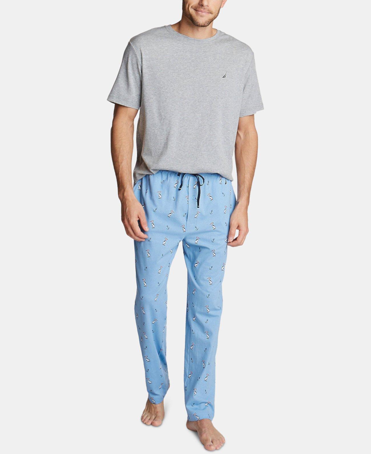Мужские пижамные штаны с принтом из хлопка Nautica