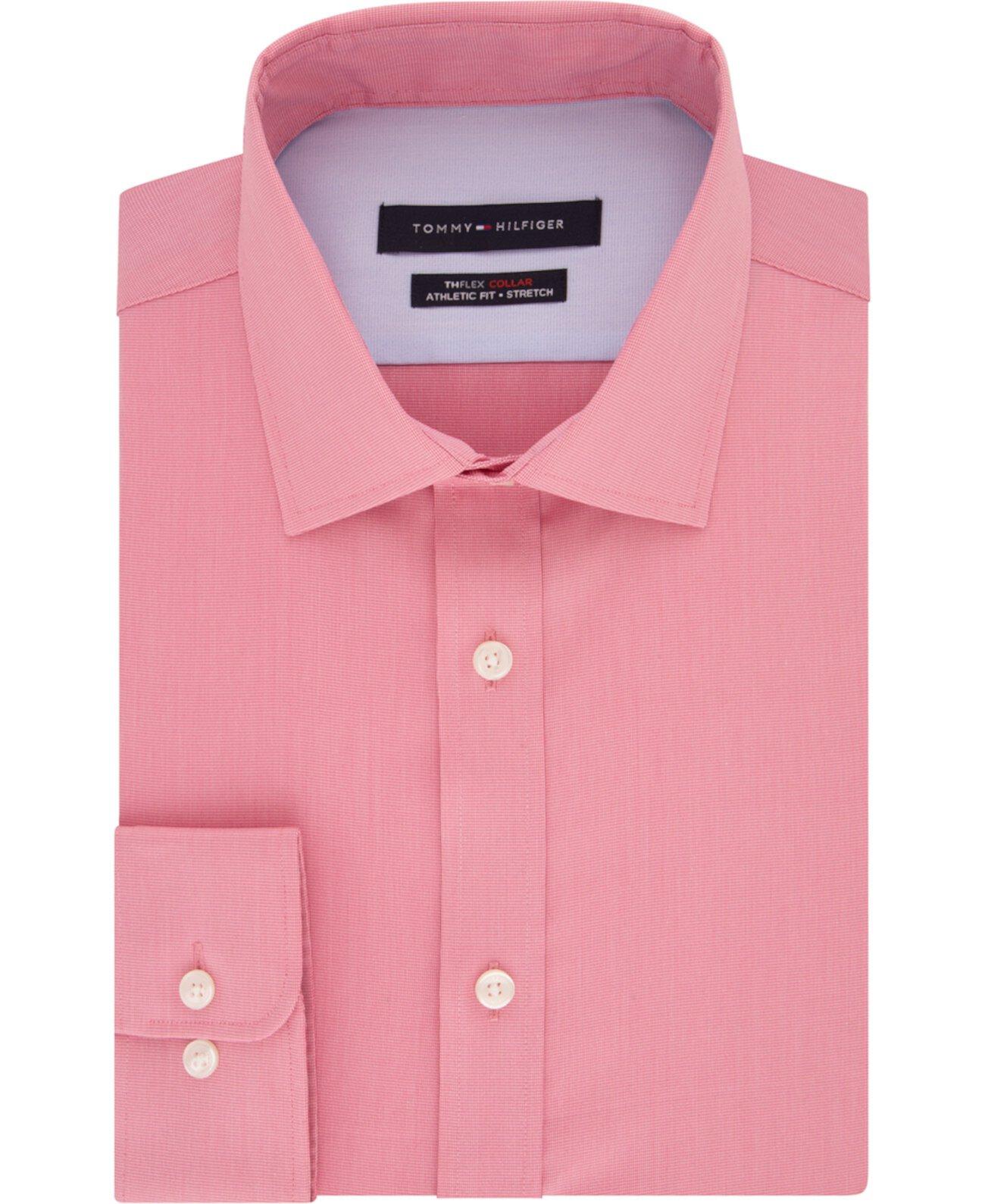 Мужская облегающая твердая классическая рубашка THFlex Performance, созданная для Macy's Tommy Hilfiger