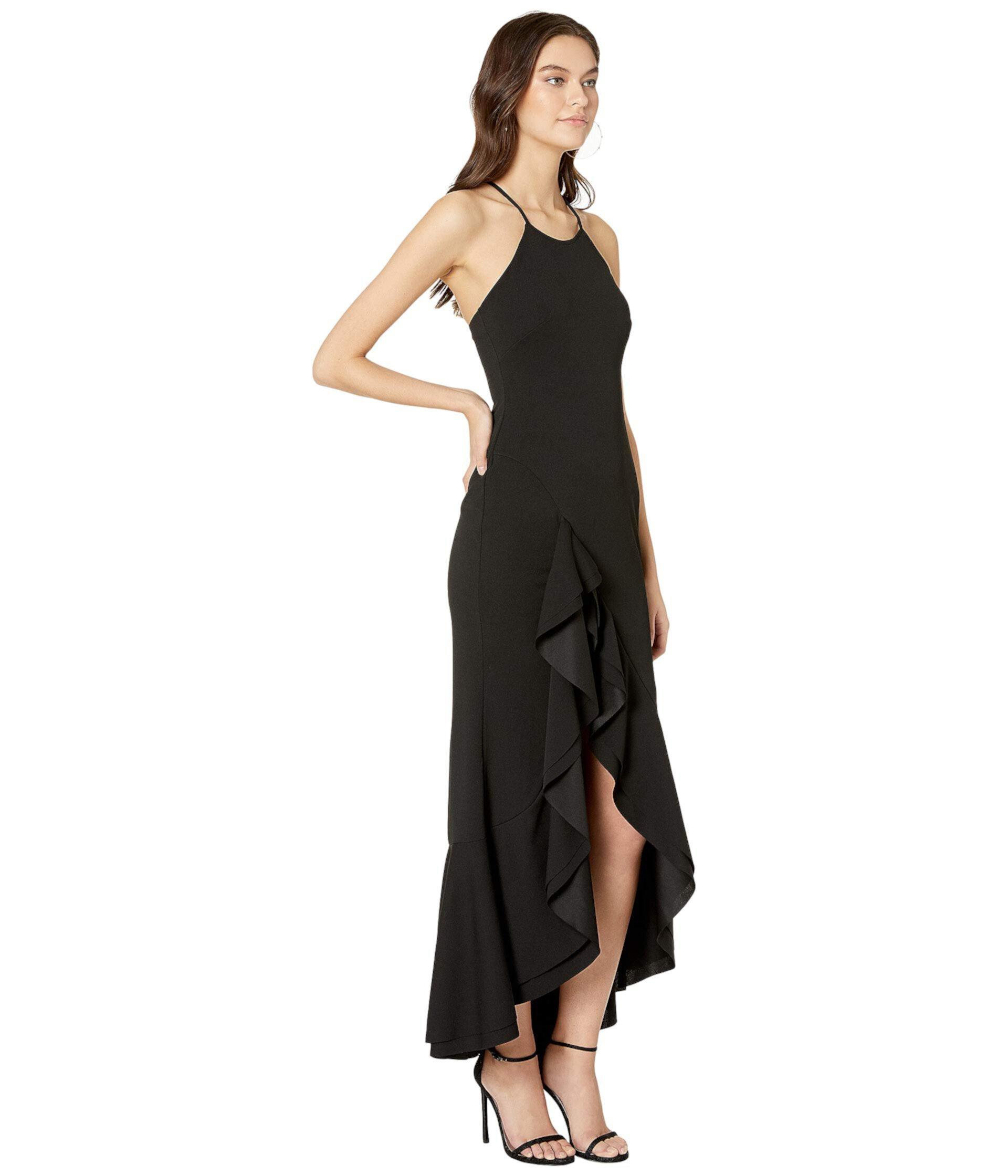 Платье с разрезом и оборками с высоким воротом Bebe
