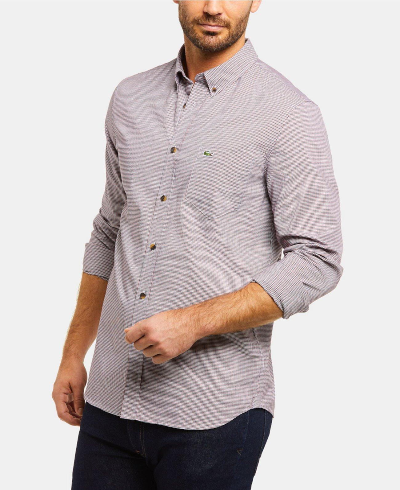 Мужская рубашка в клетку в клетку с длинным рукавом в клетку Lacoste