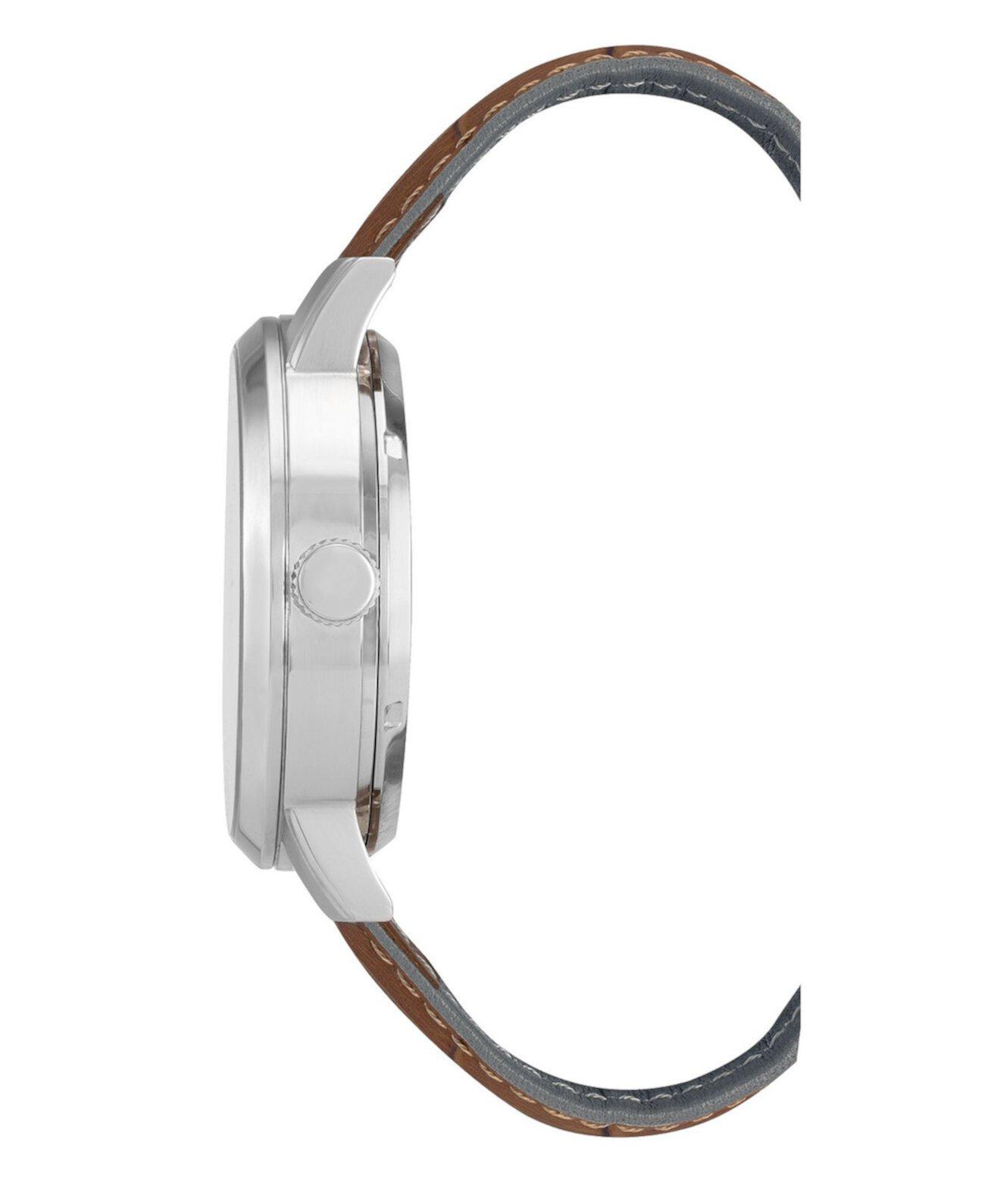 Мужские коричневые часы с ремешком из натуральной кожи, 46мм Kenneth Cole New York