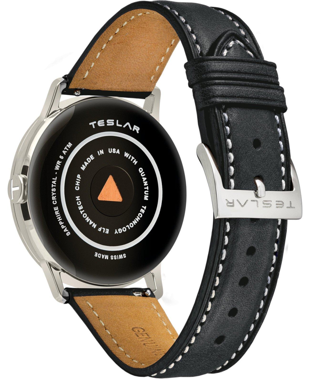 Мужские швейцарские часы Re-Balance T-1 с черным кожаным ремешком 40мм Teslar
