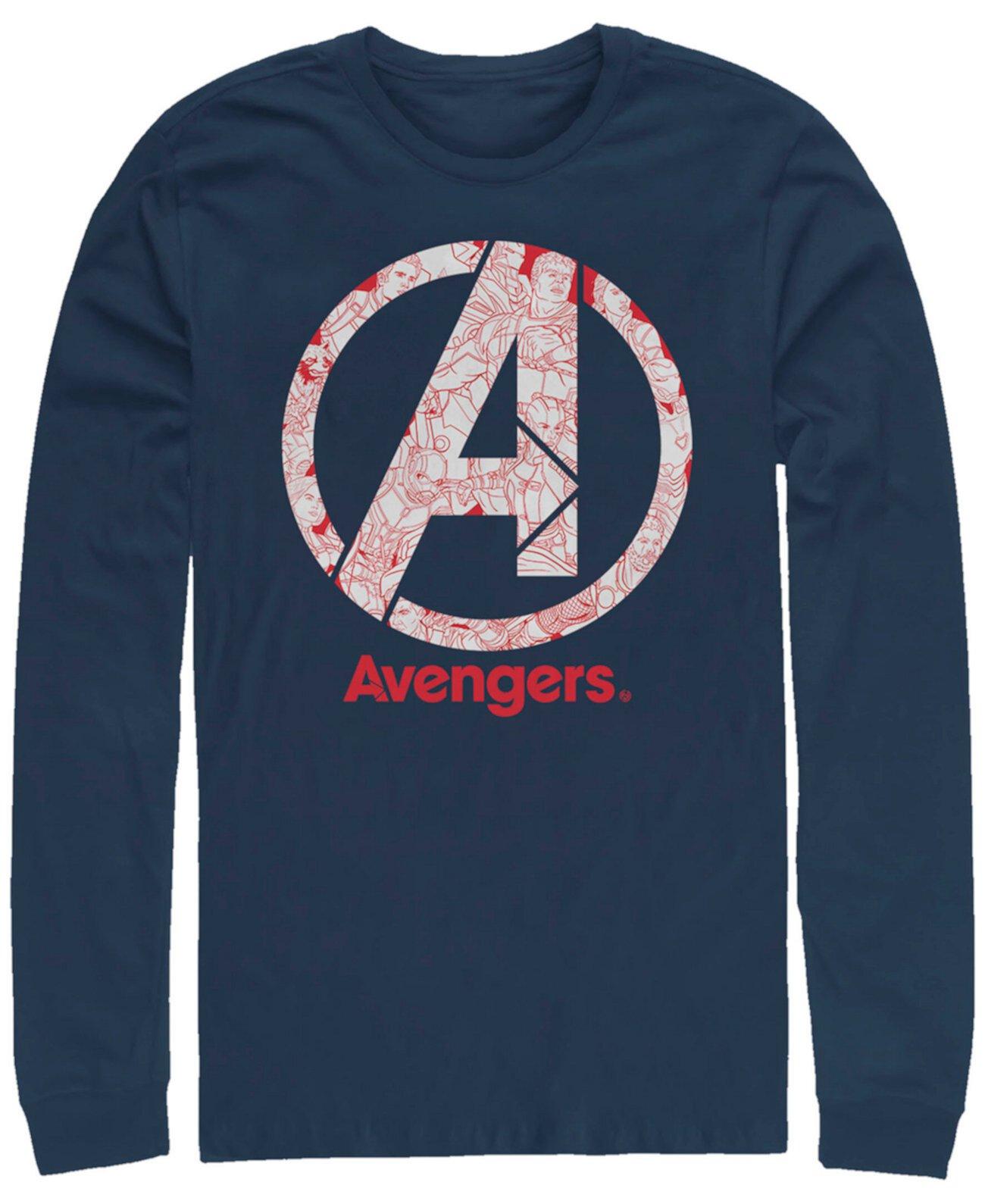 Мужская мститель Endgame Line Art Logo, футболка с длинным рукавом Marvel