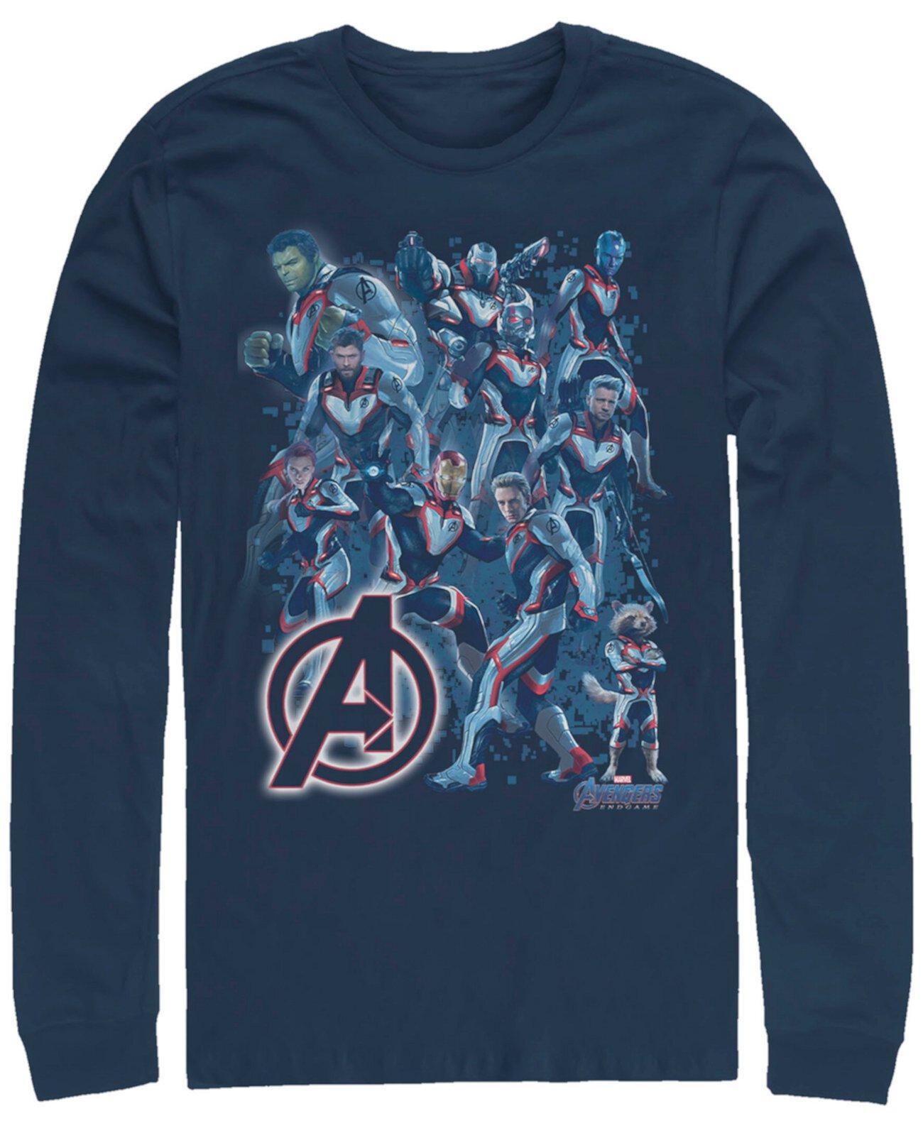 Мужской Мститель Эндшпиль Светящийся логотип Группа Плакат, футболка с длинным рукавом Marvel