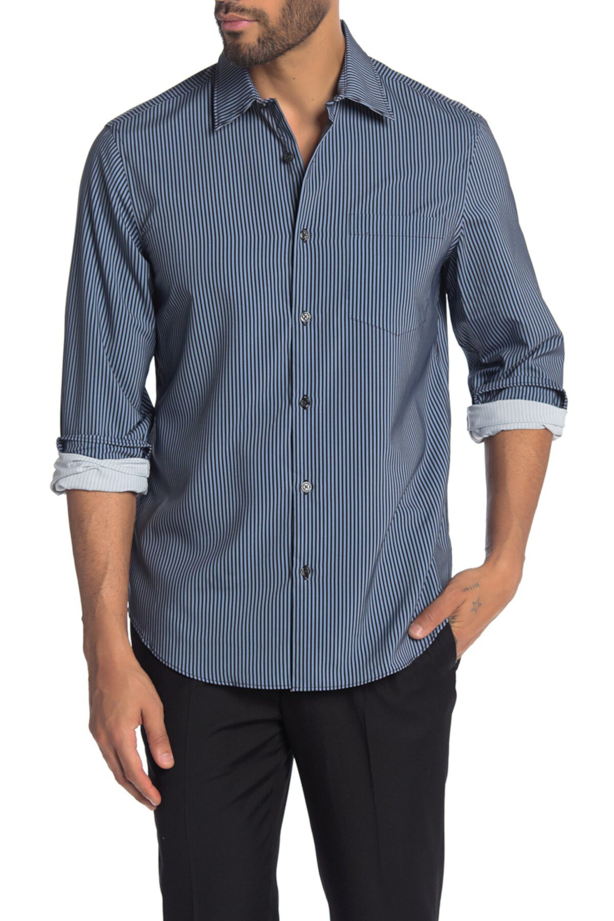 Узкая рубашка с принтом в полоску Shine Perry Ellis
