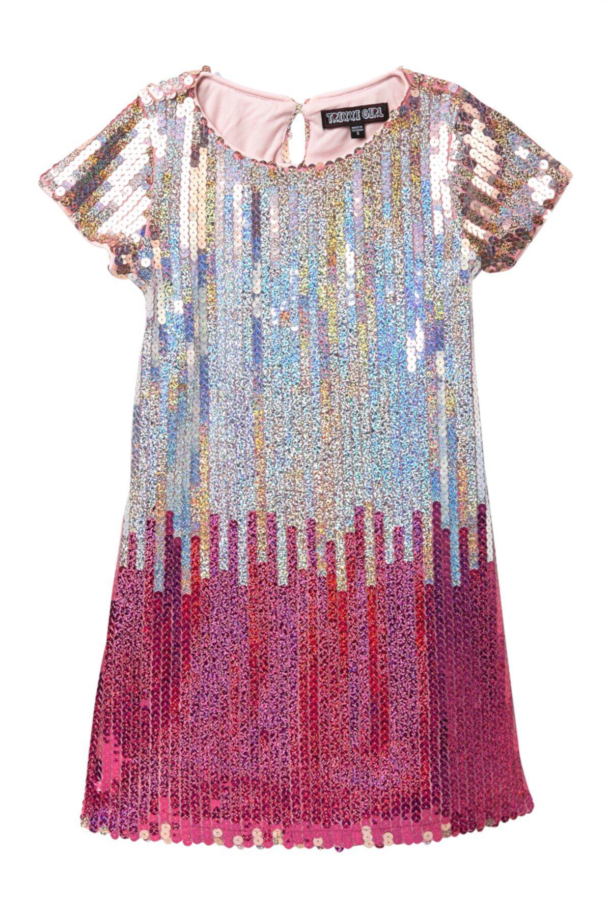 Платье-футляр с блестками Ombre (большие девочки) Trixxi