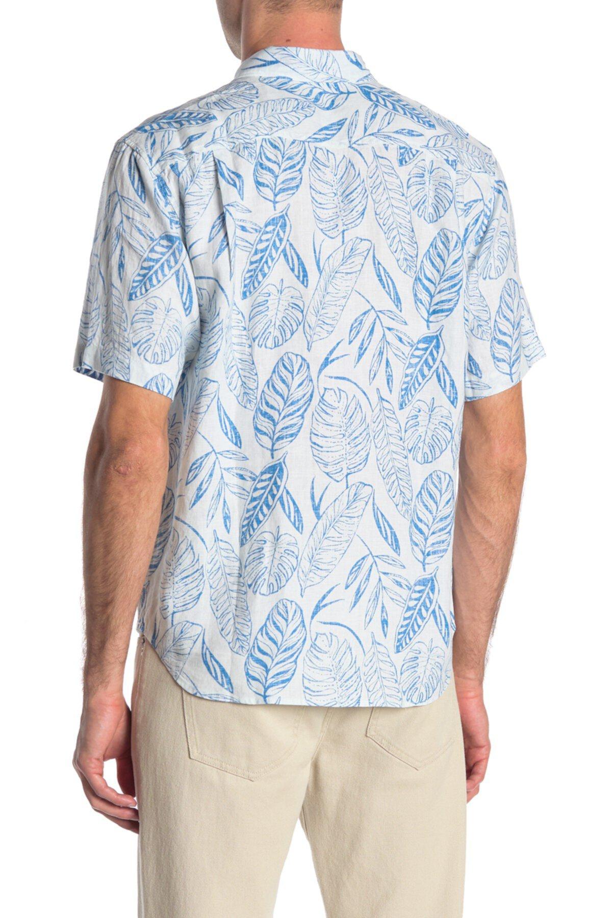 Azzano Fronds Льняная гавайская рубашка с принтом в виде листьев Tommy Bahama