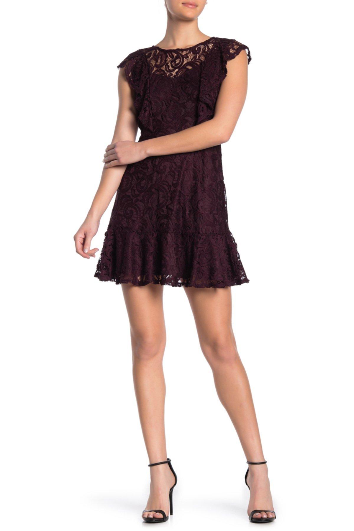 Кружевное платье с плиссированной юбкой TRINITY MOON