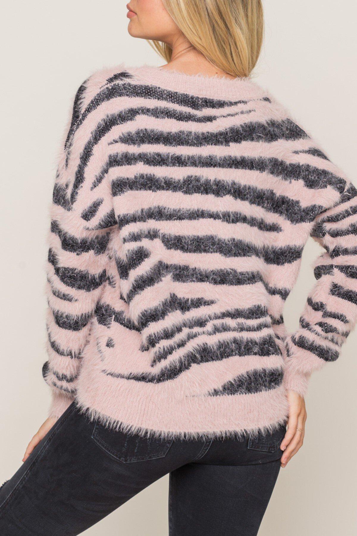 Свитер с полосатым принтом Fuzzy Zebra Lush