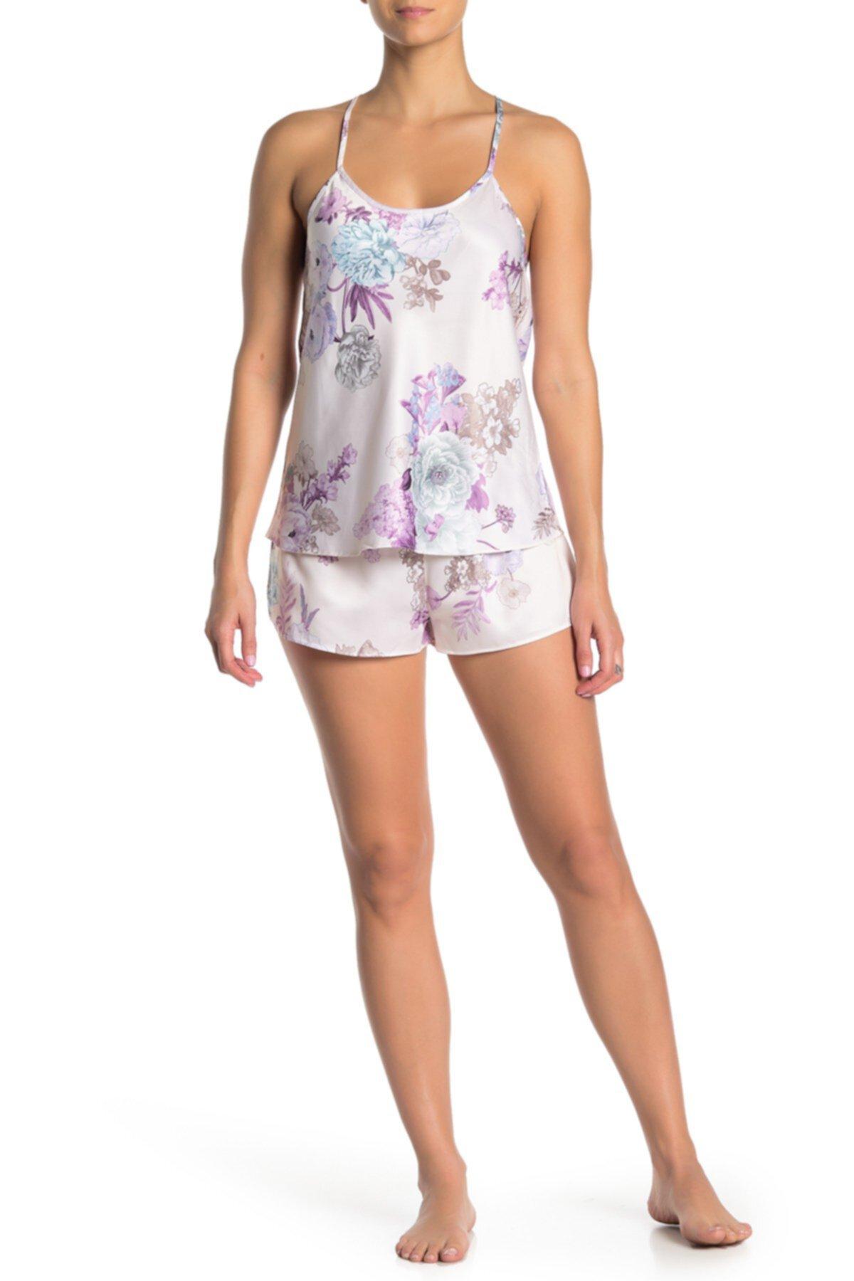 Arisa Цветочный атласный камзол и шорты Пижамный комплект из 2 частей Flora Nikrooz Sleepwear