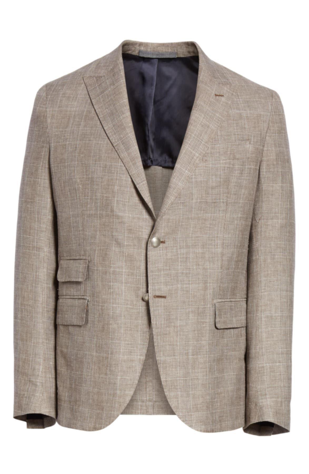 Шерстяное спортивное пальто в клетку Trim Fit Eleventy