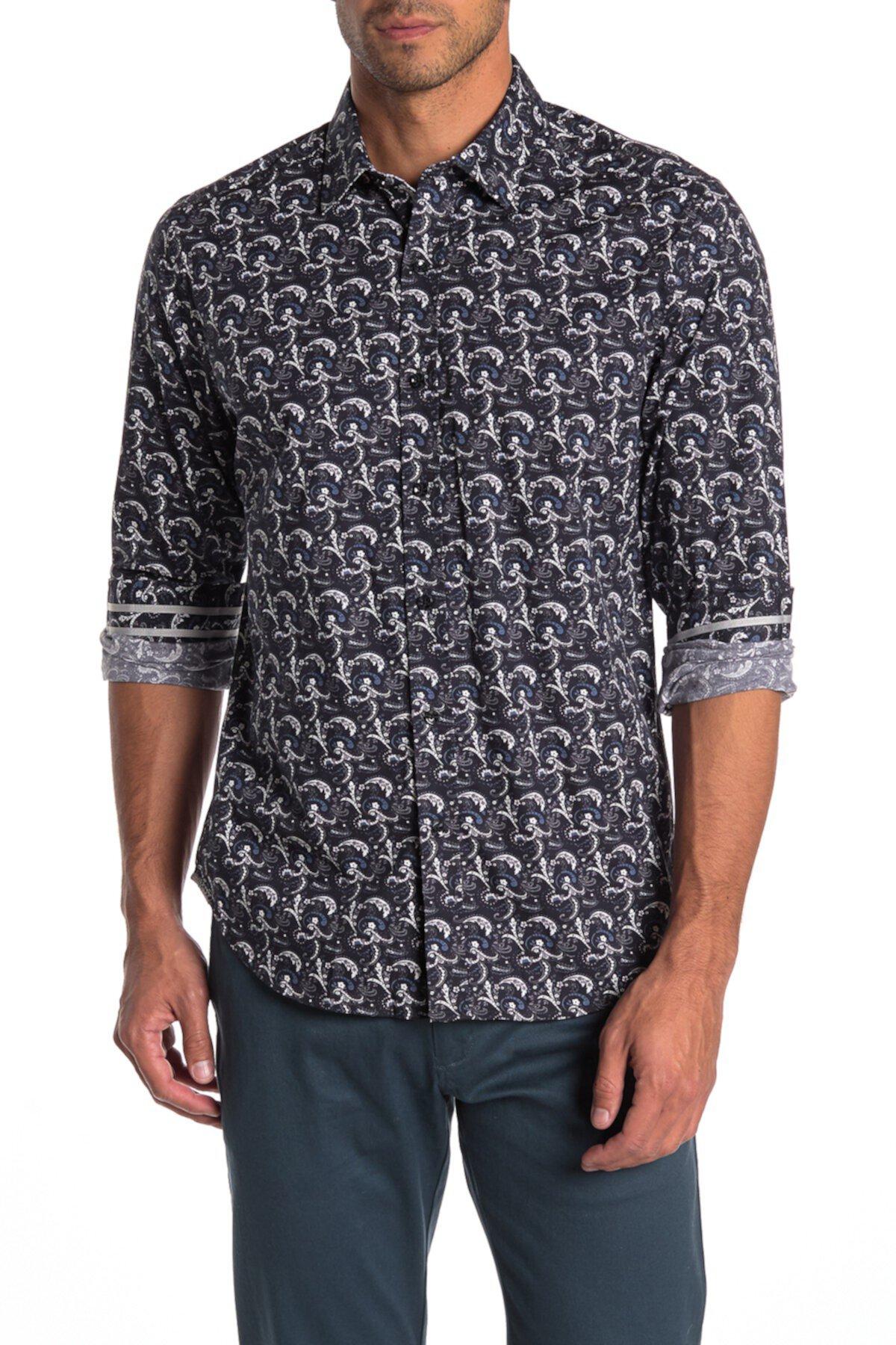 Рубашка с откидным верхом и принтом пейсли Robert Graham