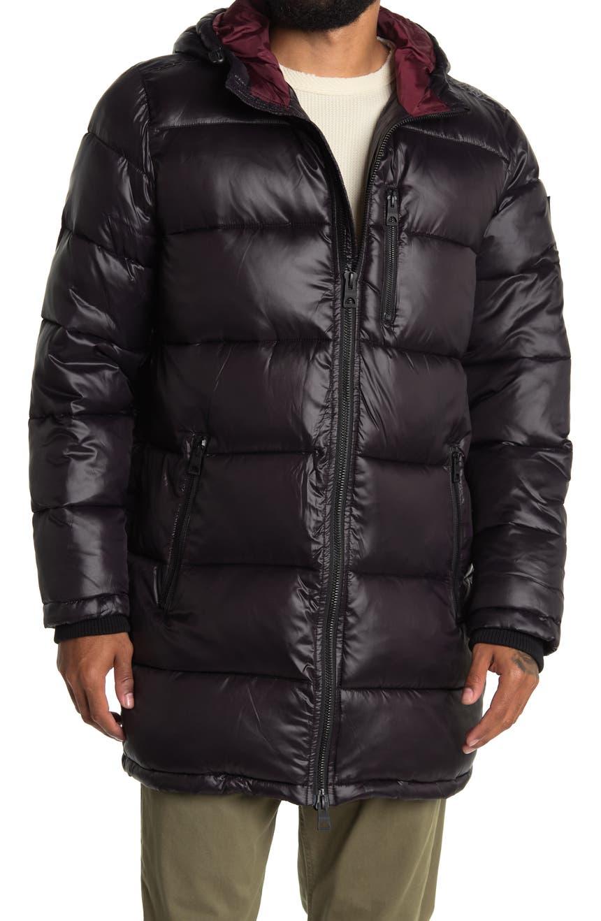 Длинная куртка-пуховик с капюшоном GUESS